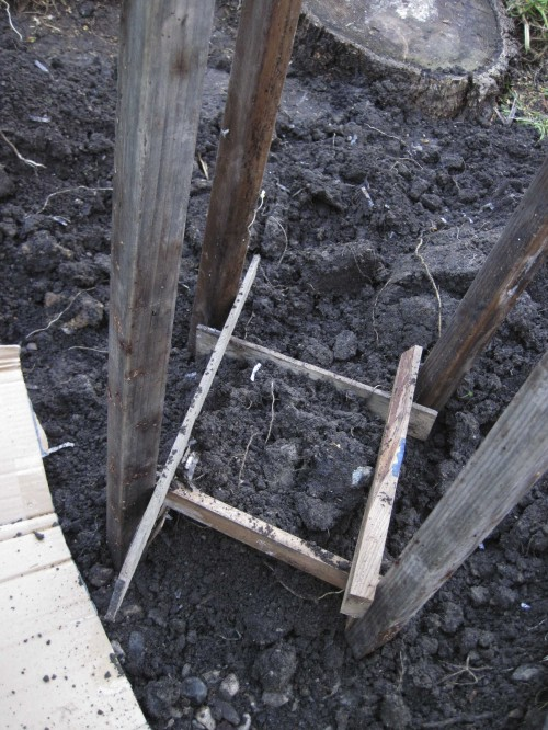 Slat wood used to raise the soil level.